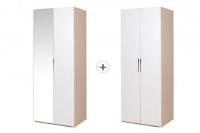 [패키지]몽스 1600 옷장 - 800 2단 옷장 (거울형) + 800 긴 옷장/