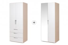 [패키지]몽스 1600 옷장 - 800 옷장 (3단서랍형) + 800 2단 옷장 (거울형)/