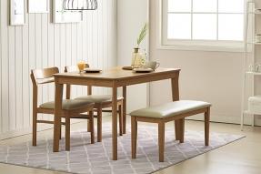 헤이 4인 식탁세트(벤치1+의자2)/