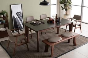 샤르데니아 화산석 4인 식탁세트(의자2개+벤치)/