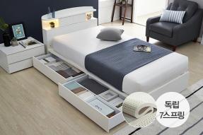 스마트 LED조명(USB) 슬라이딩형 침대_2단서랍 SS (에코벨리 텐셀라텍스 7zone 매트포함)/