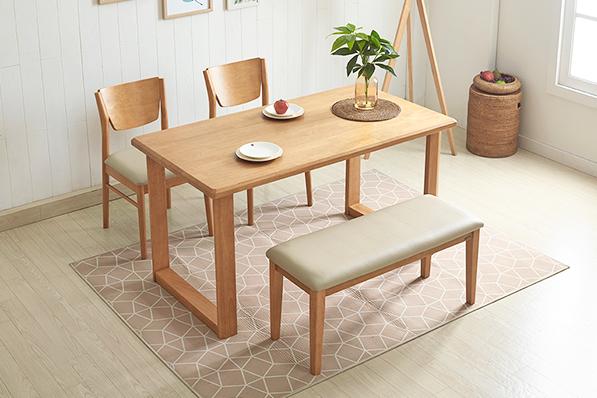 러스틱 4인 식탁세트(벤치1+의자2)