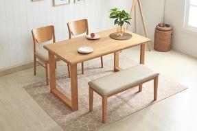 러스틱 4인 식탁세트(벤치1+의자2)/