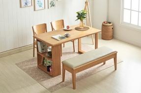 러스틱 멀티선반 4인 식탁세트(수납벤치1+의자2)/