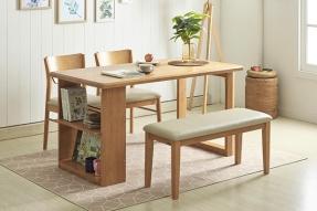 러스틱 멀티선반 4인 식탁세트(벤치1+의자2)/