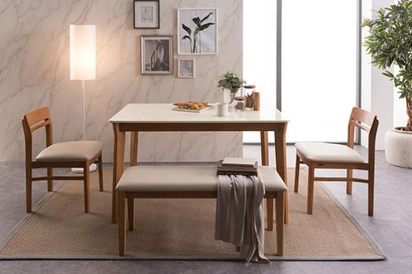헤이 4인 대리석 식탁세트(벤치1+의자2)