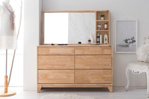 레미 고무나무 원목 와이드 3단 양수서랍장세트 (수납거울 포함)