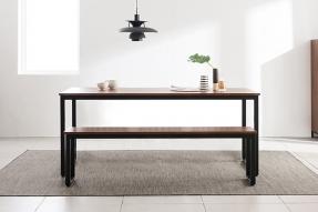 인디 스틸 멀바우 테이블 식탁세트 1800 (벤치2포함)/