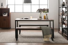 인디 스틸 멀바우 테이블 식탁세트 1600 (벤치2포함)/