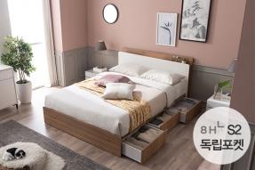 블랑 모션LED 수납침대 Q (8H S2 독립포켓매트)/