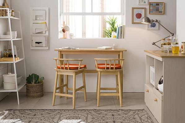 바게트 원목 테이블 세트(바체어형)